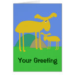 Mother and Baby Golden Deer Cartoon Card