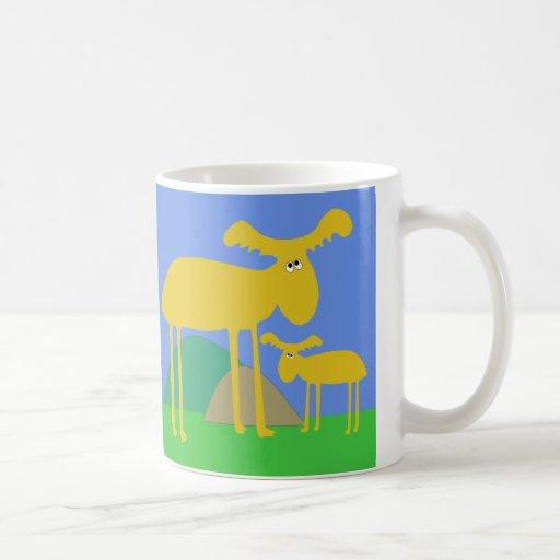 Mother and Baby Golden Deer Cartoon Mug
