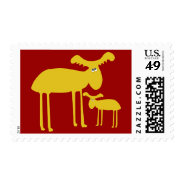 Mother and Baby Golden Deer Cartoon Stamp at Zazzle