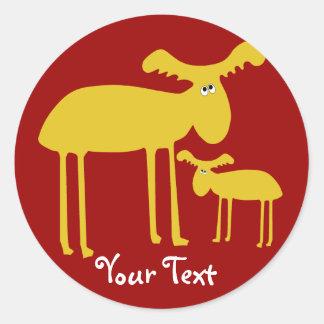 Mother and Baby Golden Deer Cartoon Sticker