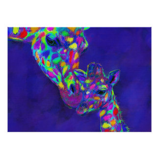 Mother and  Baby Harlequin Giraffes Poster