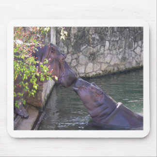 Mother and Baby Hippo Greeting Mouse Pad