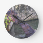 Mother and Baby Hippo Greeting Round Clock