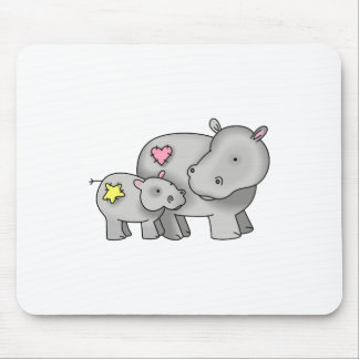 MOTHER AND BABY HIPPO MOUSEPADS