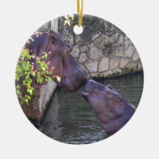 Mother and baby hippo ornament