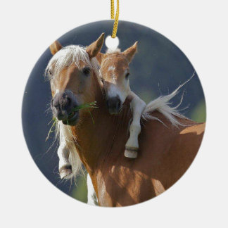 Mother and Baby Horse Double-Sided Ceramic Round Christmas Ornament