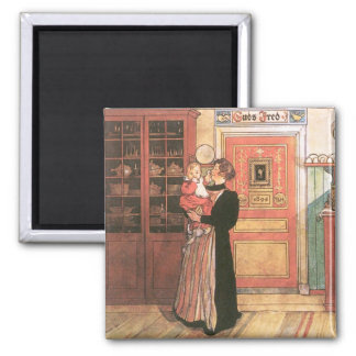 Mother and Baby in the Kitchen 2 Inch Square Magnet