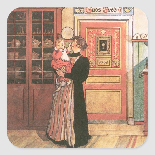 Mother and Baby in the Kitchen Square Sticker