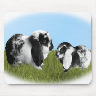 Mother and Baby Lop Eared Bunnies Mouse Pad