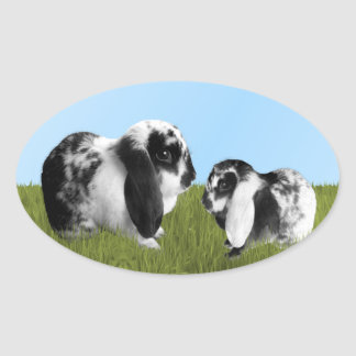 Mother and Baby Lop Eared Bunnies Oval Sticker