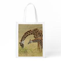 Mother and baby Masai Giraffe, Giraffa Grocery Bag