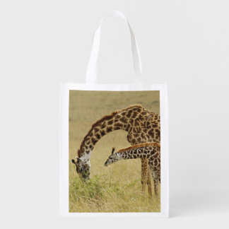 Mother and baby Masai Giraffe, Giraffa Grocery Bag