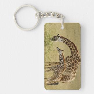 Mother and baby Masai Giraffe, Giraffa Keychain