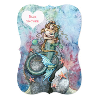 Mother and Baby Mermaid Baby Shower Invitations