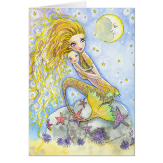 Mother and Baby Mermaid Card by Molly Harrison