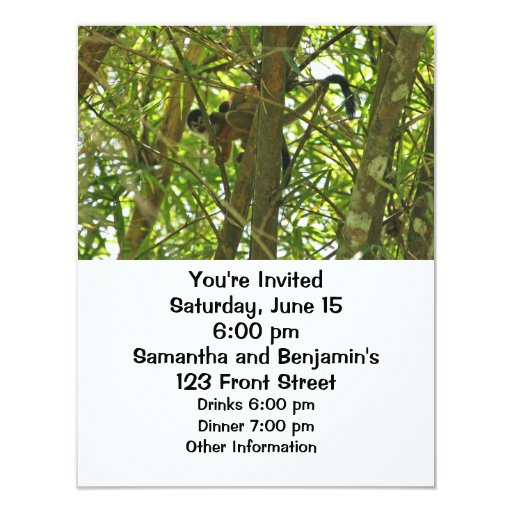 Mother and Baby Monkey Personalized Invitation