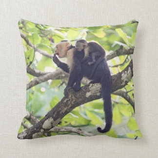 Mother and Baby Monkey Throw Pillow