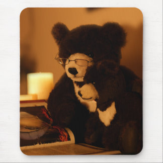 Mother And Baby Moon Bear Reading A Book Mousepads