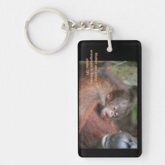 Mother and Baby Orangutan Double-Sided Rectangular Acrylic Keychain