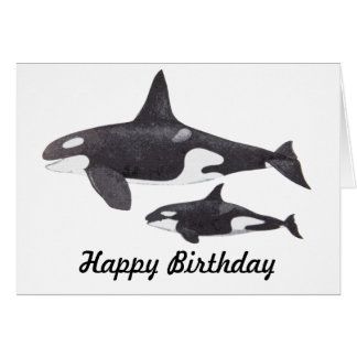 Mother and Baby Orca Greeting Card