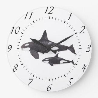 Mother and Baby Orca Large Clock
