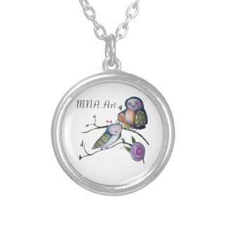 Mother and baby owl round pendant necklace