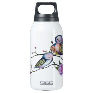 Mother and baby owl on a tree branch insulated water bottle