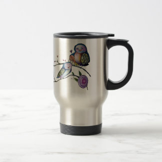 Mother and baby owl on a tree branch travel mug