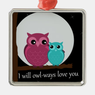 Mother and Baby Owl on Tree Branch Metal Ornament