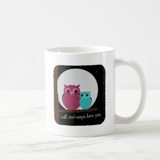 Mother and Baby Owl on Tree Branch Classic White Coffee Mug