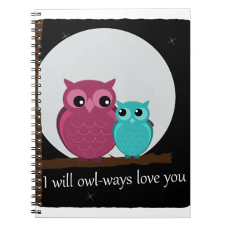 Mother and Baby Owl on Tree Branch Spiral Notebook