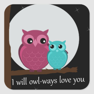 Mother and Baby Owl on Tree Branch Square Sticker