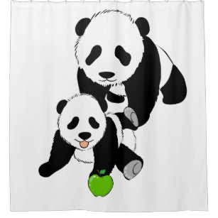 Mother And Baby Panda Bears Shower Curtain