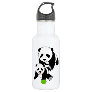 Mother and Baby Panda Bears Water Bottle