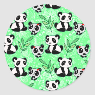 Mother and Baby Panda Green Pattern Classic Round Sticker
