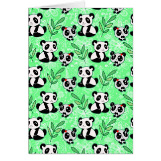 Mother and Baby Panda Green Pattern Greeting Card