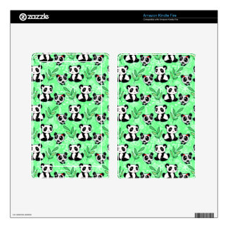 Mother and Baby Panda Green Pattern Kindle Fire Decal