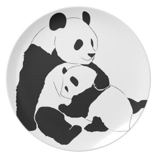 Mother and Baby Panda Hugging Custom Plate