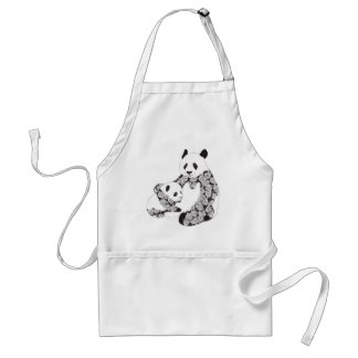 Mother and Baby Panda Illustration Aprons