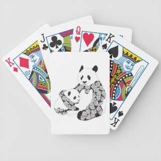 Mother and Baby Panda Illustration Bicycle Playing Cards