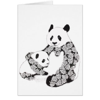 Mother and Baby Panda Illustration Card