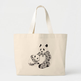 Mother and Baby Panda Illustration Large Tote Bag