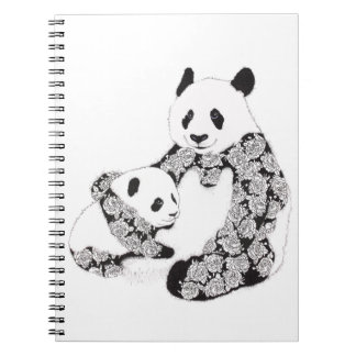 Mother and Baby Panda Illustration Spiral Note Book