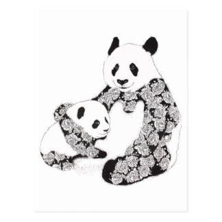 Mother and Baby Panda Illustration Postcard
