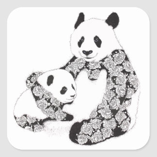 Mother and Baby Panda Illustration Square Stickers