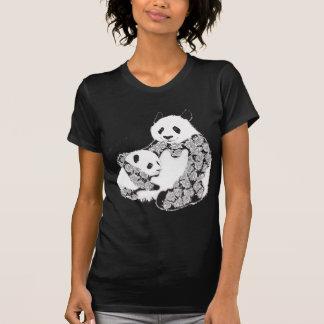 Mother and Baby Panda Illustration T Shirt