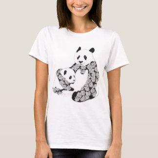Mother and Baby Panda Illustration T-Shirt