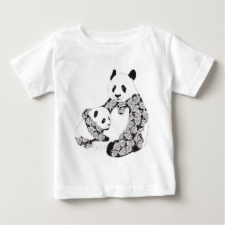 Mother and Baby Panda Illustration Tee Shirt