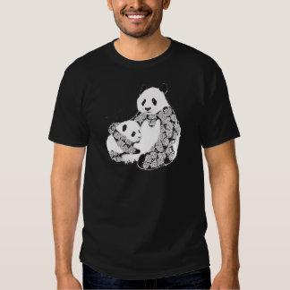 Mother and Baby Panda Illustration Tee Shirt