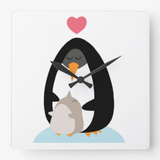 Mother and baby penguin clock